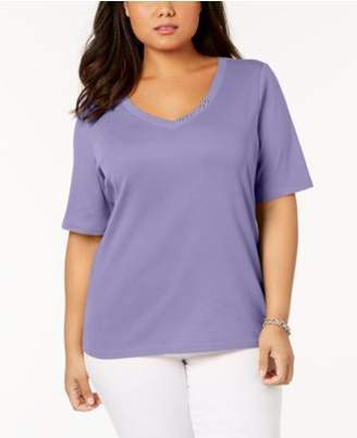 Karen Scott Plus Size Button-Studded V-Neck Top, Created for Macy's