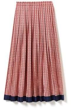 Valentino Optical Printed Silk Twill Midi Skirt