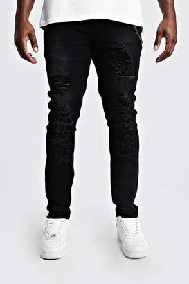 boohoo Big & Tall Skinny Fit Jeans With Distressing