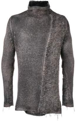 Avant Toi asymmetrical contrasting knit sweater