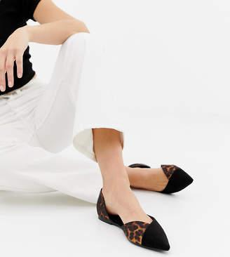 Asos DESIGN Wide Fit Verve d'orsay point ballet flats