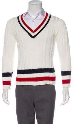 Thom Browne Striped V-Neck Sweater