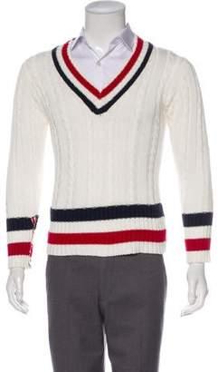 Thom Browne Striped V-Neck Sweater