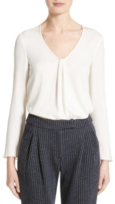 Women's Armani Collezioni Faux Knot Stretch Silk Charmeuse Top $575 thestylecure.com