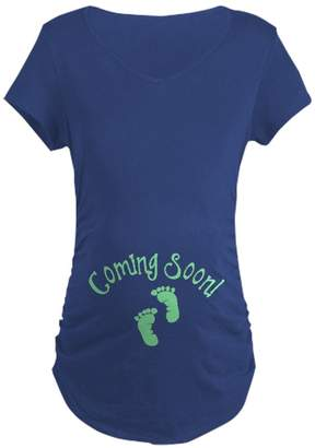 CafePress - Coming Soon - Cotton Maternity T-shirt, Side Ruched Scoop Neck