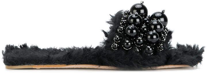 Miu Miu pearl embellished shearling sliders