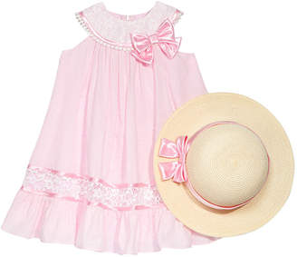 Bonnie Jean 2-Pc. Lace-Trim Trapeze Dress & Hat Set, Little Girls