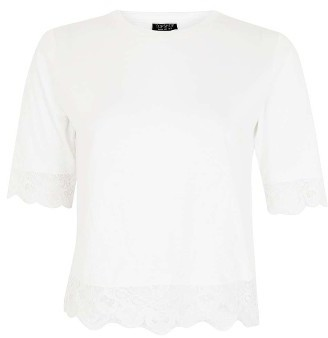 Women's Topshop Lace Trim Tee 3
