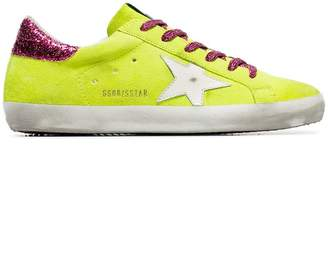 Golden Goose fluorescent yellow Superstar contrast lace sneakers