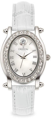 Croton Womens April Birthstone Crystal-Accent White Leather Strap Watch