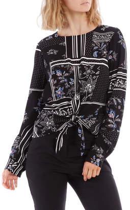 Miss Shop Scarf Print Tie Front Top