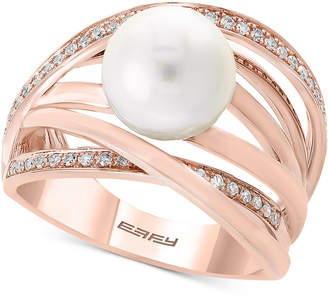 Effy Pearl by Cultured Freshwater Pearl (9mm) & Diamond (1/6 ct. t.w.) Ring