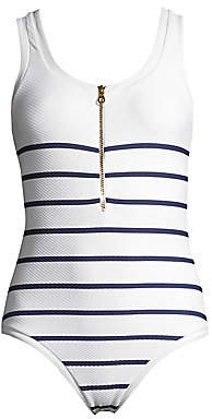 Heidi Klein Women's One-Piece Textured Binding Nautical Swimsuit