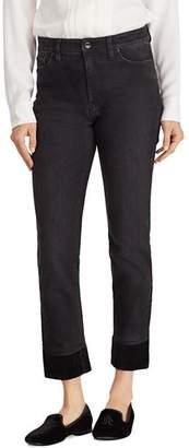 Ralph Lauren Velvet Cuff Straight Jeans in Black