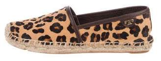 Tory Burch Leopard Round-Toe Espadrilles