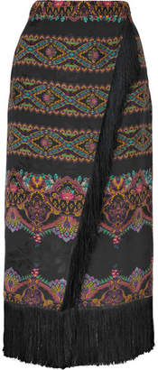 Etro Wrap-effect Fringed Printed Jacquard Midi Skirt - Black