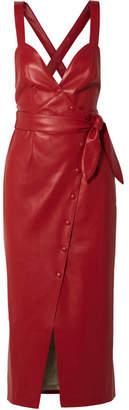 Nanushka Nahar Knotted Faux Leather Midi Dress - Red