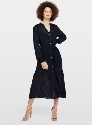 Miss Selfridge Navy Tiered Dobby Midi Dress