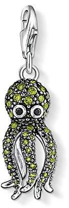 Thomas Sabo Women-Charm Pendant Octopus Charm Club 925 Sterling Silver Zirconia green black 1047-051-6