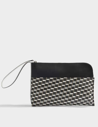 Pierre Hardy Pouch Bag with Hand Strap in Black and White Cube Canvas and Calfskin
