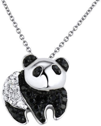 clear FINE JEWELRY Sterling Silver Black & Crystal Panda Pendant