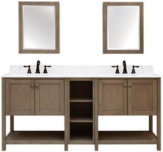 Sunny Wood Aiden Bath 2-Shelf Modular Component Double Bathroom Vanity Base Only