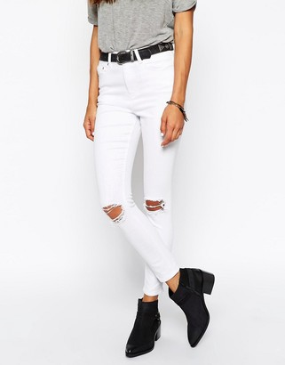 ASOS Ridley Skinny Ankle Grazer Jeans in White With Rip and Destroy Busts $49 thestylecure.com