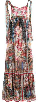 Dolce & Gabbana Pleated Printed Silk-Chiffon Maxi Dress