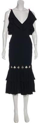 Antonio Berardi Ruffled Embroidered Dress w/ Tags