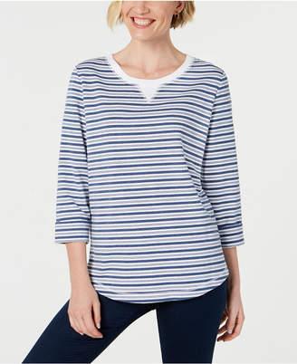 Karen Scott Petite Striped 3/4-Sleeve Sweatshirt