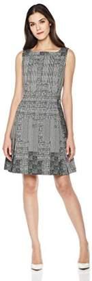 Savoir Faire Dresses Women's Sleeveless Square Neck Fit and Flare Geometric Dress 2