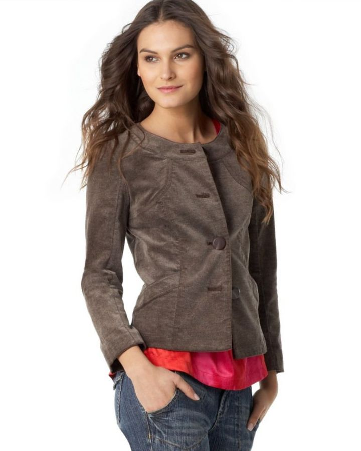 DKNY Jeans Collarless Stretch Velvet Jacket