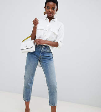 Asos DESIGN Petite Recycled Florence authentic straight leg jeans in light stonewash blue