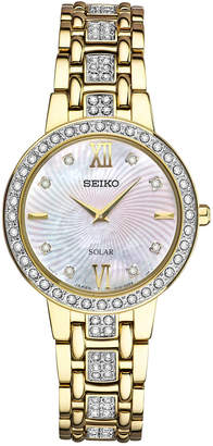 Seiko Women's Solar Dress Swarovski Crystal Gold-Tone Stainless Steel Bracelet Watch 28mm SUP364