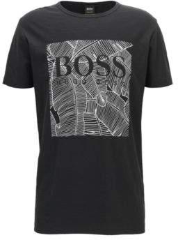 BOSS Hugo Leaf-Print Cotton Graphic T-Shirt Tarit L Black