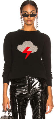 Alberta Ferretti Thunderstorm Crewneck Sweater in Black, Grey & Red | FWRD