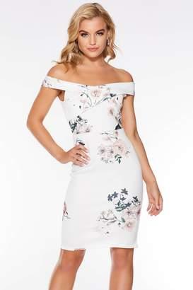 7e98431ddfdb Quiz Dusky Pink Floral Print Bardot Midi Dress