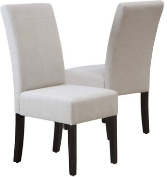 Noble House Maxwell T-stitch Natural Linen Dining Chairs, Set of 2