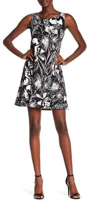 MSK Faux Teal Printed Trapeze Dress