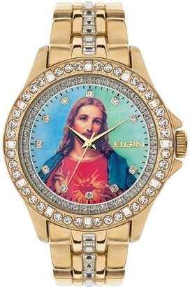 Elgin Mens Crystal Accent Gold-Tone Bracelet Watch
