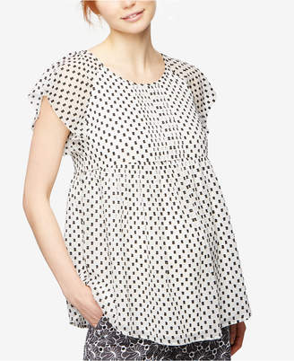 A Pea In The Pod Maternity Dot-Print Flutter-Sleeve Blouse $88 thestylecure.com
