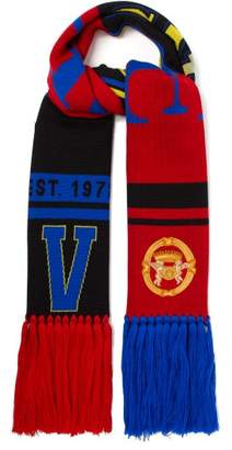 Versace Fringed Wool Scarf - Womens - Red