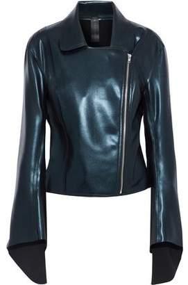 Norma Kamali Gang Metallic Faux Leather Biker Jacket