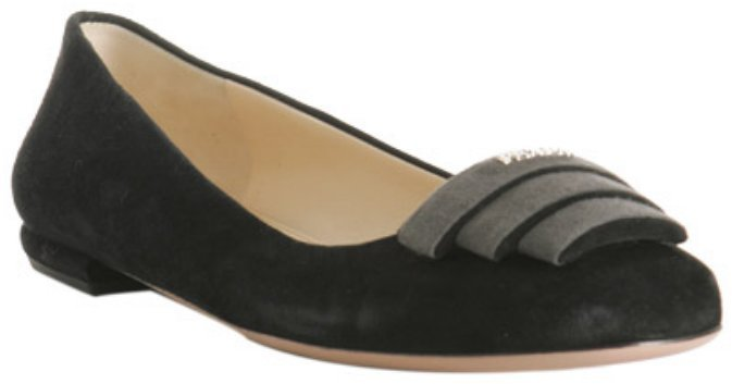 Prada black suede contrast color detail logo flats
