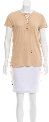 Haute Hippie Lace-Up Short Sleeve Top w/ Tags