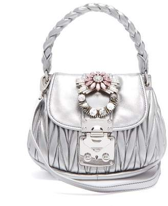 Miu Miu Mattelasse Leather Cross Body Bag - Womens - Silver