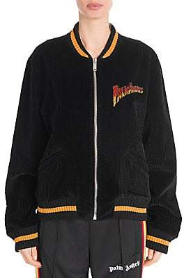 Palm Angels Women's Velvet Souvenir Baseball Jacket
