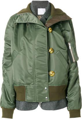 Sacai Padded funnel neck jacket