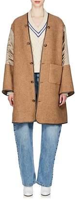 Maison Margiela Women's Twill-Sleeve Wool-Blend Coat