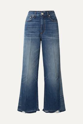 Rag & Bone Haru Distressed High-rise Wide-leg Jeans - Mid denim